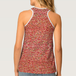 Patterned, yellow and red tank