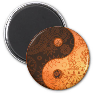 Patterned Yin Yang Gold 2 Inch Round Magnet