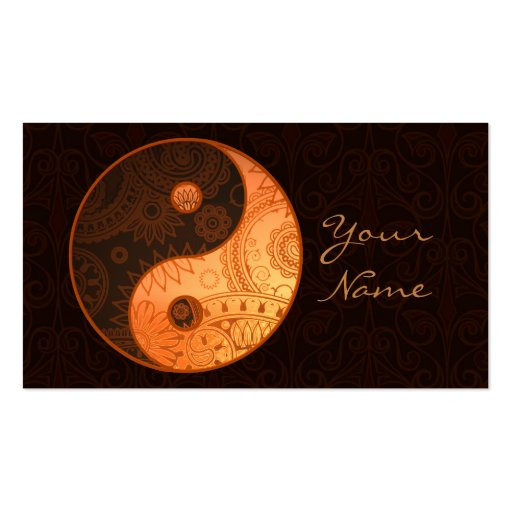 Patterned Yin Yang Gold Business Card