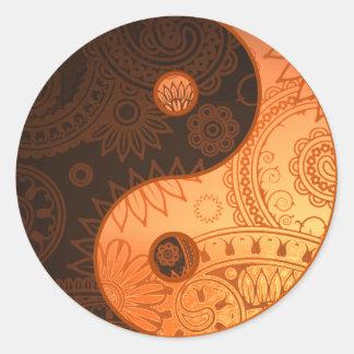 Patterned Yin Yang Gold Classic Round Sticker