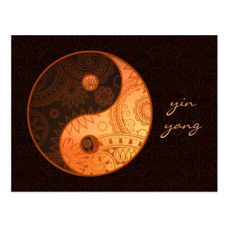 Patterned Yin Yang Gold Postcard