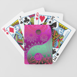 Patterned Yin Yang Magenta and Green Bicycle Playing Cards