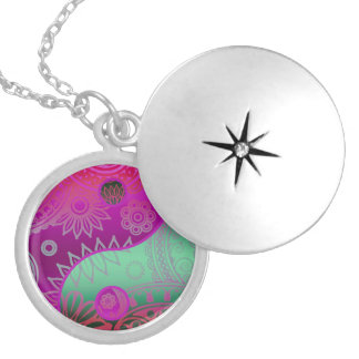 Patterned Yin Yang Magenta and Green Round Locket Necklace