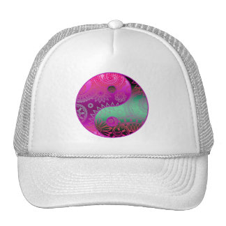 Patterned Yin Yang Magenta and Green Trucker Hat