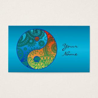 Patterned Yin Yang Orange and Blue Business Card