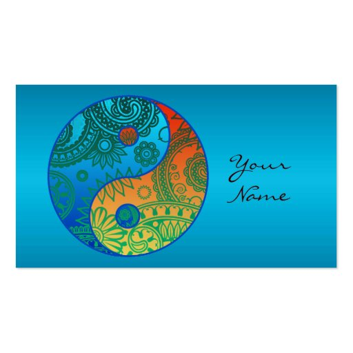 Patterned Yin Yang Orange and Blue Business Cards