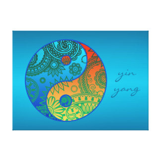 Patterned Yin Yang Orange and Blue Canvas Print