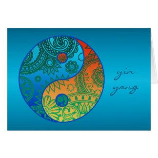 Patterned Yin Yang Orange and Blue Card