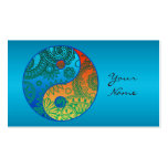 Patterned Yin Yang Orange and Blue Double-Sided Standard Business Cards (Pack Of 100)
