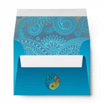 Patterned Yin Yang Orange and Blue Envelope