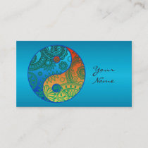 Patterned Yin Yang Orange and Blue ID325 Business Card