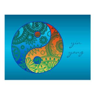 Patterned Yin Yang Orange and Blue Postcard