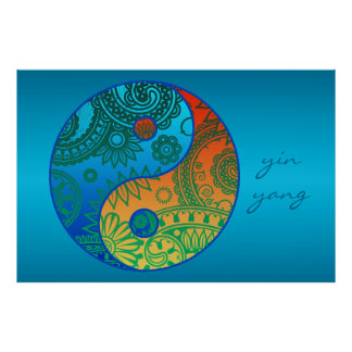 Patterned Yin Yang Orange and Blue Poster