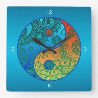 Patterned Yin Yang Orange and Blue Square Wall Clock