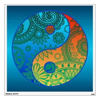 Patterned Yin Yang Orange and Blue Wall Sticker