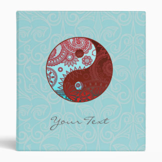 Patterned Yin Yang Red and Blue 3 Ring Binder