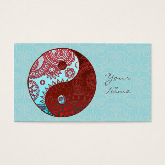 Patterned Yin Yang Red and Blue Business Card
