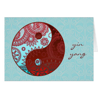 Patterned Yin Yang Red and Blue Card