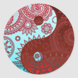 Patterned Yin Yang Red and Blue Classic Round Sticker