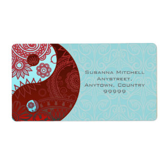 Patterned Yin Yang Red and Blue Shipping Label