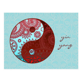 Patterned Yin Yang Red and Blue Postcard