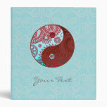 Patterned Yin Yang Red and Blue Vinyl Binder