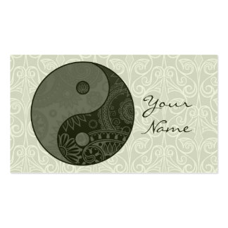 Patterned Yin Yang Sage Green Business Card Template