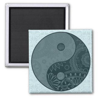 Patterned Yin Yang Slate Blue 2 Inch Square Magnet
