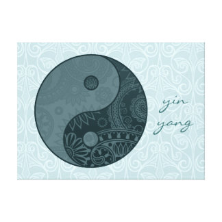 Patterned Yin Yang Slate Blue Canvas Print
