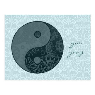 Patterned Yin Yang Slate Blue Postcard
