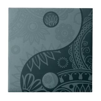 Patterned Yin Yang Slate Blue Tile