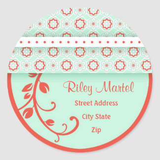 Patterns and Floral Swirls Address Label Sticker