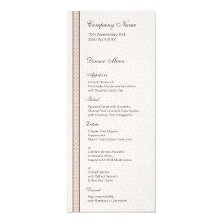 """Patterns & Borders 1 Dinner Menu 4"""" X 9.25"""" Invitation Card"""
