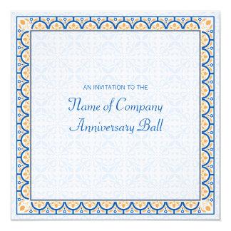 """Patterns & Borders 2 Corporate Anniversary Ball 5.25"""" Square Invitation Card"""