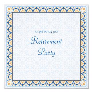 """Patterns & Borders 2 Retirement Party Invitation 5.25"""" Square Invitation Card"""