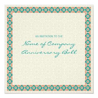 """Patterns & Borders 3 Corporate Anniversary Ball 2 5.25"""" Square Invitation Card"""