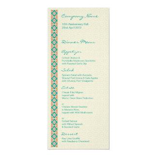 """Patterns & Borders 3 Dinner Menu 4"""" X 9.25"""" Invitation Card"""