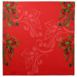 patterns_design_red_flowers_leaves_green_gold printed napkins