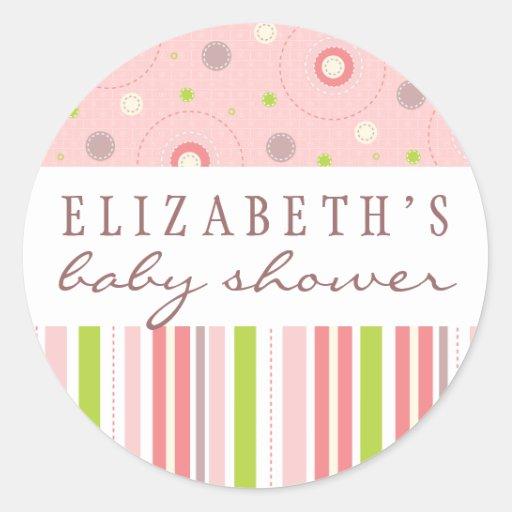 Patterns of Fun in Pink Baby Shower Favor Sticker