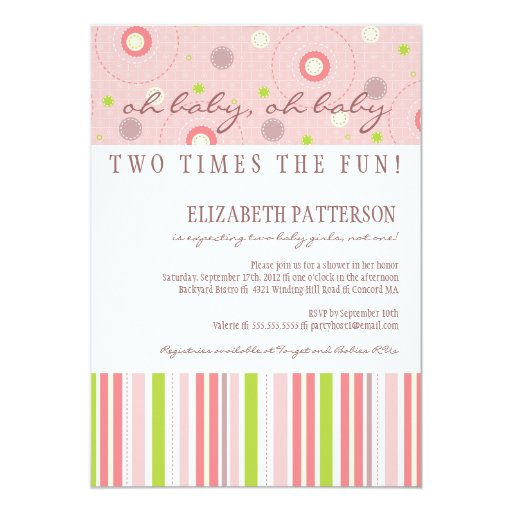 Patterns of Fun Twin Girl Baby Shower Invitation