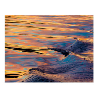 Patterns of Reflected Sunset in Boat Wake Postcard