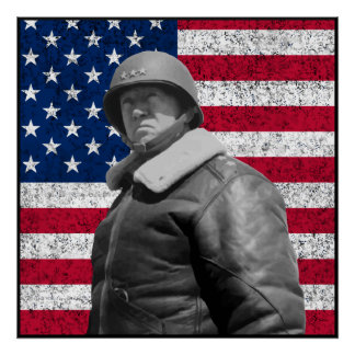 Patton and The American Flag -- Border Print