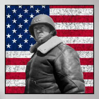 Patton y la bandera americana -- Frontera Posters