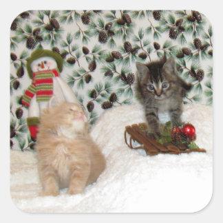 Patton y pegatinas juguetones del navidad de pegatina cuadrada