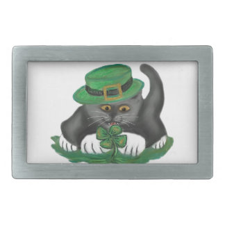 Patty, the Grey Kitten, Loves Four Leaf Clovers Belt Buckles