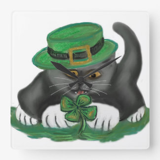 Patty, the Grey Kitten, Loves Four Leaf Clovers Square Wall Clocks