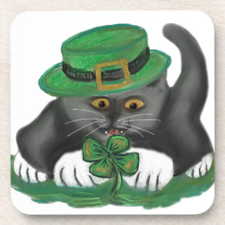 Patty, the Grey Kitten, Loves Four Leaf Clovers Drink Coaster