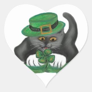 Patty, the Grey Kitten, Loves Four Leaf Clovers Heart Sticker