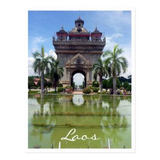 patuxai gate vientiane postcard