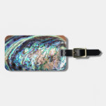Paua abalone blue and green shellfish detail luggage tag